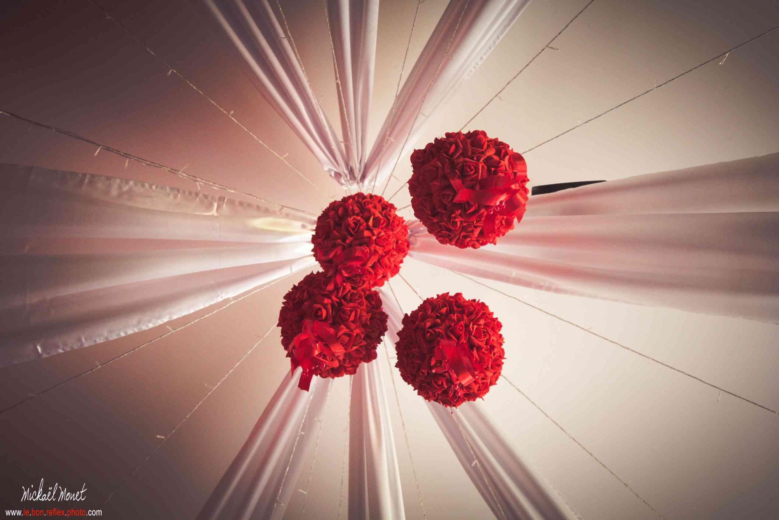 boule de roses décoration de mariage