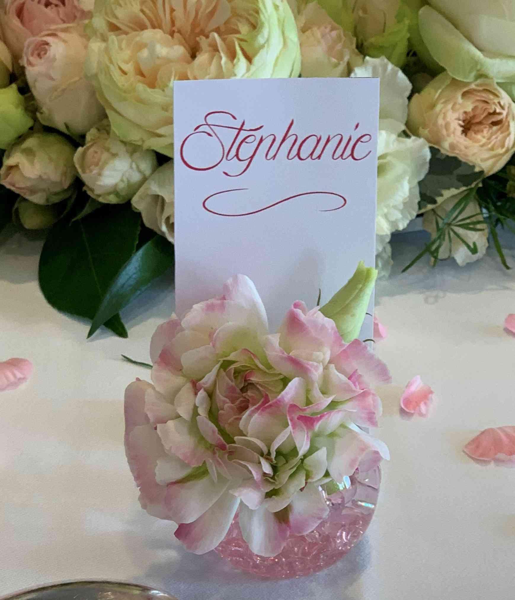 Porte prénom et marque table mariage