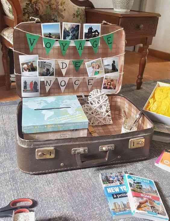 Cagnotte valise vintage
